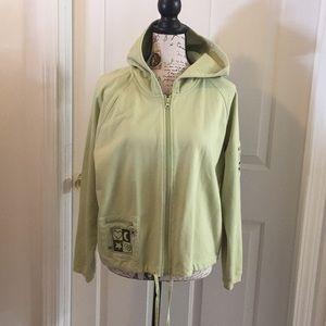 Christopher & Banks lime green cotton hoodie Sz L